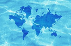 Blue World Map on wavy water surface background