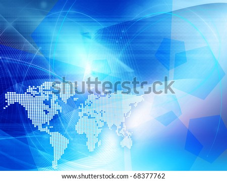 blue world map technology style - perfect background with space