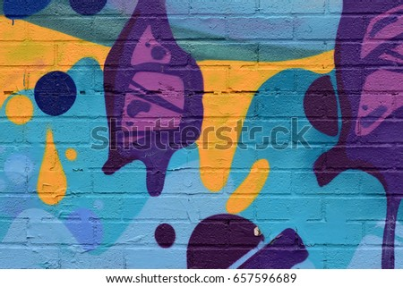 Blue, Yellow, and Purple Abstract, Spray Paint on Brick
