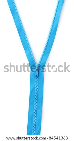 Blue zipper closeup isolated on white