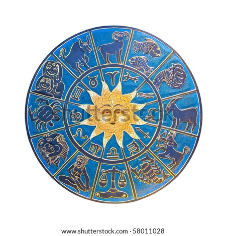 Blue zodiac wheel with clipping path included