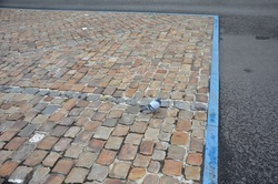 blue zones are used for exclusive parking in the city. the resident stops the car for free, the others pay at the vending machine. Paving bounded by a traffic line, markings vending machine buy ticket
