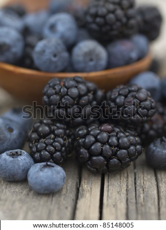 blueberries and blackberries - stock photo