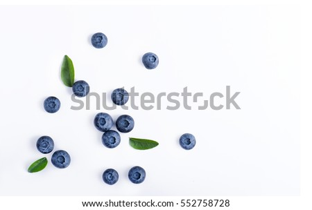 Blueberries and leaves isolated on white background