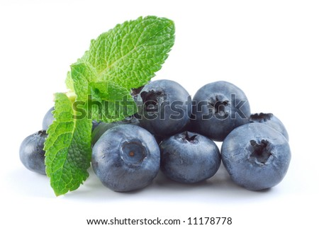 Blueberries and menthe studio isolated on white background