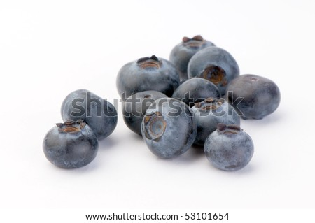 Blueberries close-up on white background
