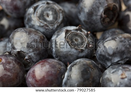 Blueberries covered in water