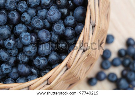Blueberries in a basket, close-up