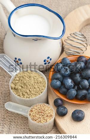 blueberries, rice milk, hemp protein powder, ground flax seeds