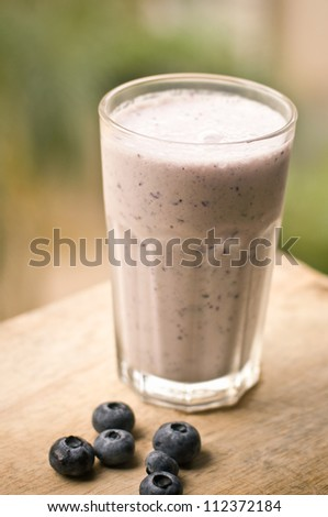 Blueberries smoothie with soya milk
