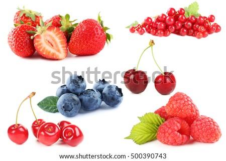 Blueberries, strawberries, raspberries, currant and cherry #500390743