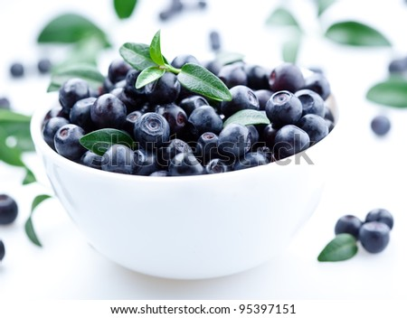 Blueberries with leaves in the plate. isolated on white background