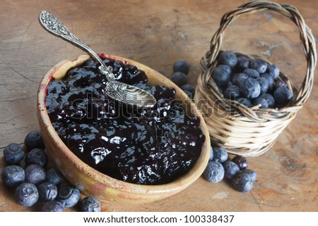 blueberry and blueberry jam in a bowl