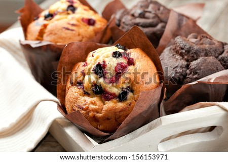 blueberry and chocolate muffins in paper cupcake holder Photo stock ©