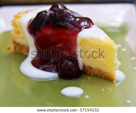 blueberry cake on dish.