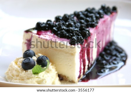 Blueberry cheesecake slice