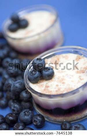 Blueberry cheesecakes served in glass ramekins - shallow dof