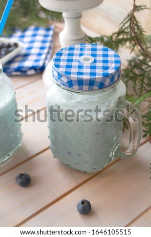 Blueberry cocktail. Dietary nutritious protein shake. Dietetic catering, smoothie