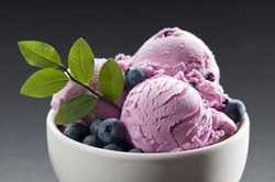 Blueberry ice cream in a bowl close up shoot