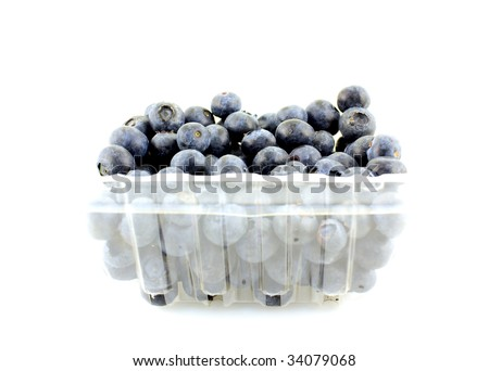 Blueberry in a transparent box
