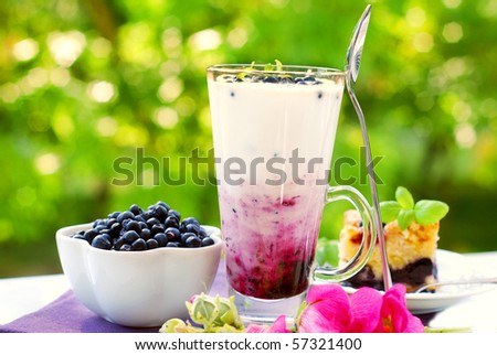 blueberry milkshake with fresh fruits in tall glass on garden table