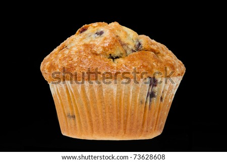 Blueberry Muffin on a Black Background