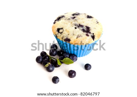 blueberry muffins isolated on white background