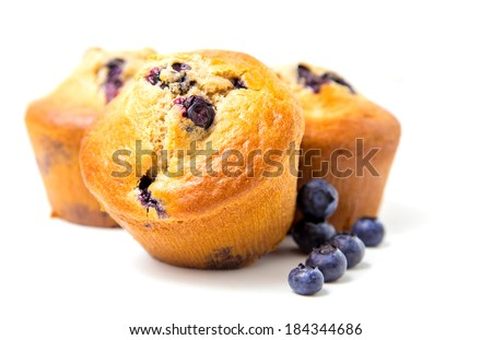 Blueberry muffins on white background Photo stock ©
