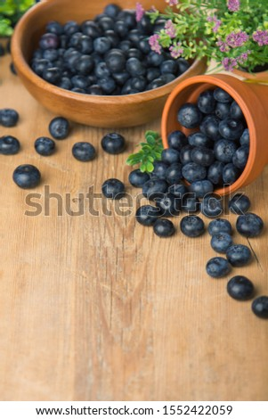 Blueberry on wooden table background. Blueberries closeup. Berries closeup