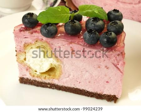 Blueberry pastry with vanilla cream