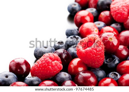 Blueberry, raspberry and cranberry. Mix ripe berries