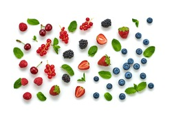 Blueberry, raspberry, strawberry, redcurrant, cherry isolated on white. Fresh blueberry, berries closeup. Ripe red raspberry, strawberry creative composition. Colorful trendy concept, top view.