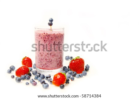 Blueberry smoothie and fresh fruits