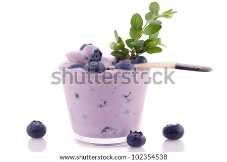 Blueberry smoothie close up. Isolated on white background