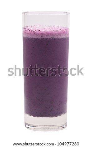 blueberry smoothie with clipping path isolated on white