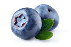 Blueberry. Two fresh blueberries with leaves isolated on white background. With clipping path.