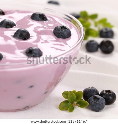 Blueberry yogurt in a glass bowl served with fresh blueberries