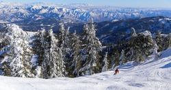 Bluebird sunny day at Bogus Basin ski area in Boise, Idaho
