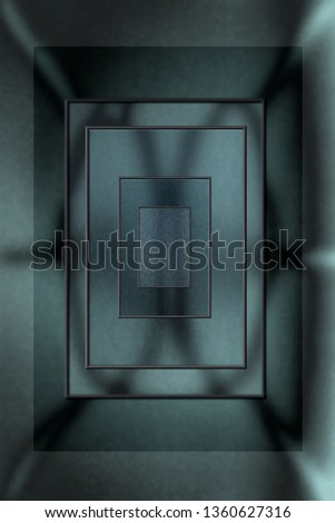 Blueish gray abstract rectangles inside rectangles to produce magnifying effect. Good for science fiction project.