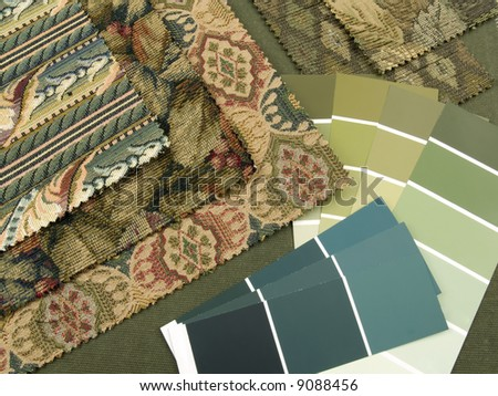 Blueish green print interior decoration plan