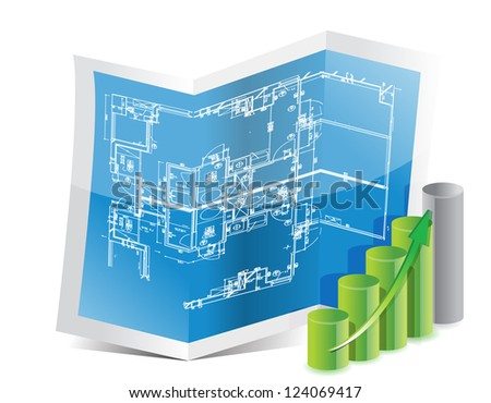 blueprint and graph illustration design over white - stock photo