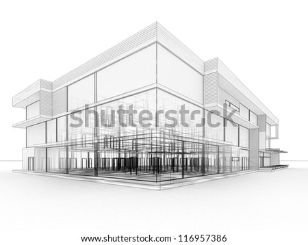 Blueprint Design Of Modern Office Building Architects And