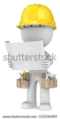 Blueprint. Dude the Builder holding a blueprint. Semi transparent.