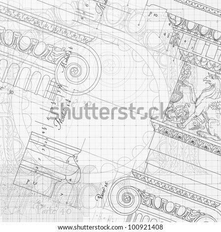Blueprint hand draw sketch ionic architectural order based the blueprint hand draw sketch ionic architectural order based the five orders of architecture is a book on architecture by giacomo barozzi da vignola from malvernweather Image collections
