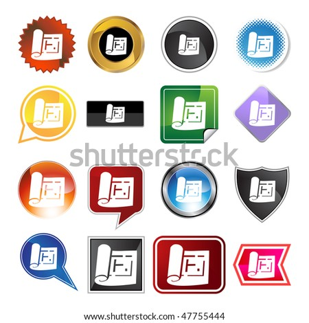 Blueprint icon set isolated on a white background.