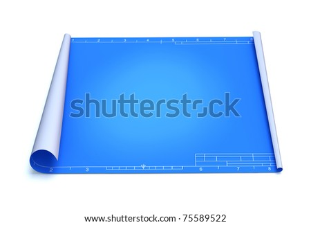Blueprint over white background - stock photo