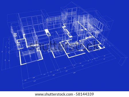 Blueprint style 3D rendered house with white outlines on blue background