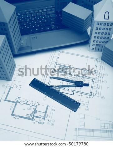 Blueprint Technical cad documentation architectural background