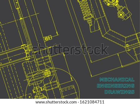 Blueprint. Vector engineering drawings. Mechanical instrument making. Technical. Gray