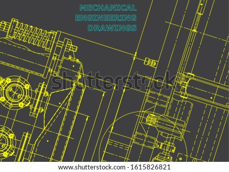 Blueprint. Vector engineering illustration. Computer aided design systems. Instrument-making drawings. Mechanical engineering drawing. Technical illustrations, backgrounds. Scheme, plan. Gray